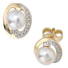 JOBO Ohrstecker 585 Gold Gelbgold 2 Diamanten Brillanten 2 Süßwasser Perlen Ohrr