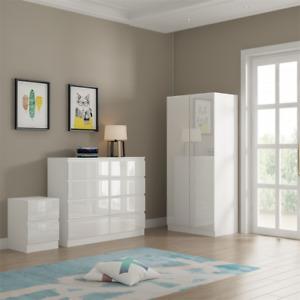 Narvik - 2 Door Wardrobe - Modern Bedroom Living - White High Gloss