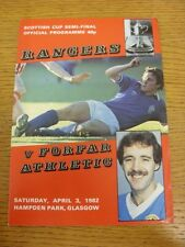 03/04/1982 Scottish Cup Semi-Final: Rangers v Forfar Athletic [At Hampden Park]