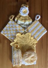 Crochet Kitchen Towel Gift Set - 6 Pieces - Yellow And White