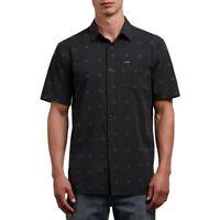 Volcom Men's Trenton Geometric Print Shirt Size Med Stealth NWT