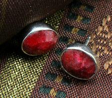 925 Sterling Silver Ruby Quartz Stud Earrings,Birthstones