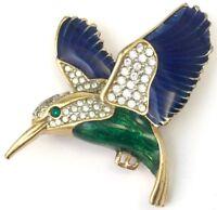 VINTAGE HUMMINGBIRD BROOCH ENAMEL CLEAR RHINESTONE BIRD PIN COSTUME JEWELRY