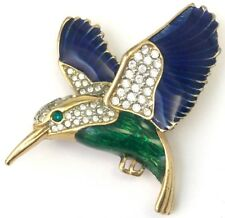 VINTAGE HUMMINGBIRD BROOCH ENAMEL CLEAR RHINESTONE BIRD PIN COSTUME JEWELRY