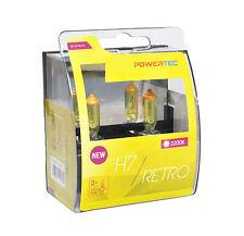 Powertec Retro H7 12 V Bombilla de coche faros amarillo Duo Set 12 V 55 W