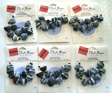 Glass Beads Valentine15mm Heart Black White10 Beads / Card Lot of 6 cards Craft