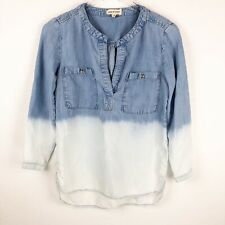 Anthropologie Cloth & Stone Womens Top Size XS Chambray Denim Shirt Ombre
