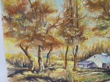 Landscape with Barn watercolor by L. Janaus