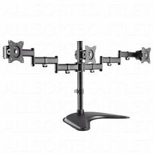 TRIPLE LCD MONITOR DESK STAND MOUNT ARM FREESTANDING ADJUSTABLE 3 SCREENS 15-27""