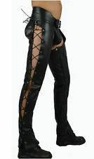 Men's Genuine Leather Side Laced Chaps Gay Trouser Pants BLUF