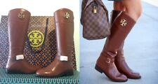 NIB Tory Burch Adeline Size 7.5 Almond Brown Leather Riding Boots 20mm $498