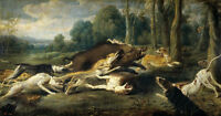 Oil painting Frans Snyders - Jabali harassed dogs courser Round up wild boar art