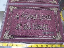 "2 PCS  ""A FRIEND LOVES"" 14"" X 9"" TAPESTRY WOVEN IN PILLOW TOP PANEL UNFINISHED"