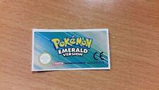 Gameboy Advance Pokemon Emerald Replacement Label Sticker Nintendo Cartridge