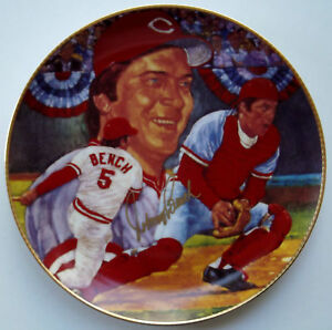 Gartlan JOHNNY BENCH Gold Ink Hand-Signed Cincinnati Reds HOF Plate Auto #'d