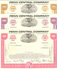 Penn Central Company > railroad gift set > lot of 3 stock certificates