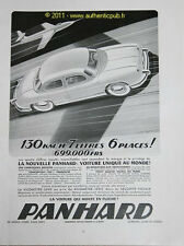 PUBLICITE VOITURE DYNA PANHARD 7L 6 PLACES 699000Frs DE 1953 FRENCH AD CAR PUB