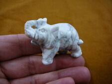 (Y-ELE-ST-713) ELEPHANT gemstone WHITE GRAY carving gem STONE figurine