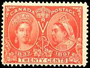 Canada #59 mint F-VF OG H 1897 Queen Victoria 20c vermilion Diamond Jubilee