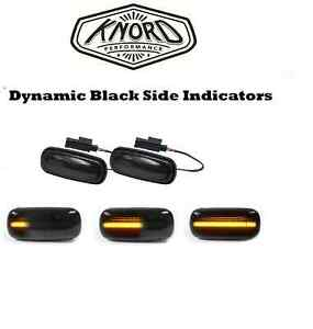 LAND ROVER DISCOVERY 2 DEFENDER LED DYNAMIC BLACK SIDE REPEATER INDICATOR PAIR