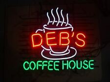 "Deb's Coffee House Cafe Open Neon Light Lamp Sign 24""x20"" Decor Glass Beer Bar"