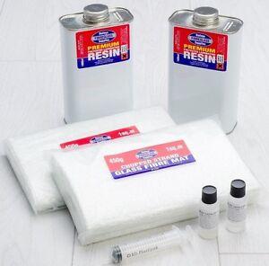 Premium Fibreglass Repair Kit GRP Resin & Matting- Lloyds Approved 2 sq m