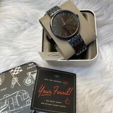 Fossil Hutton Quartz Three-Hand Black Stainless Steel Watch BQ2440 MSRP $135