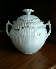 Small fancy two handled covered jar pastel with gold highlights