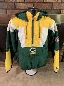 Vintage Green Bay Packers Hooded 90s Starter NFL Football Jacket Mens Medium Vtg