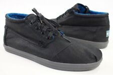 Toms Mens Size 11 Chukka Canvas Lace Up Ankle Boots Black Blue Lining New No Box