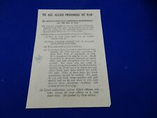 ALLIED PRISONERS  S EAST ASIA  DROPPED LEAFLET   JAPANESE GUARDS ETC BLOOD CHIT