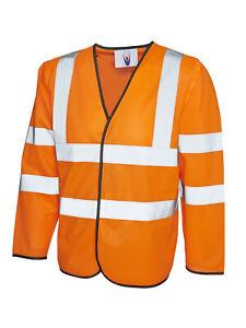 Long Sleeve Safety Waist Coat UC802 Orange XL