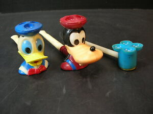 LOT of 3 1960s BUBBLE BLOWER PIPES..Donald Duck, Goofy, 4-Holer