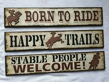 Western Motif Decorative Wall Signs SET OF 3, NEW