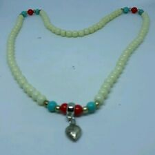 """Beautiful Off White Jade 20"""" Stretch Beaded  Necklace"""