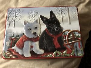 BHS White & Black Westie Dog Christmas Biscuit Tin - empty