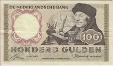 NETHERLANDS BANKNOTE P88-5036 100 GULDEN 2.2.1953 PREFIX 4 SR,  VF