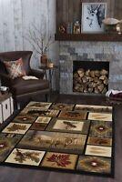 Area Rug Carpet Lodge Cabin Animal Pattern Indoor Decor Novelty Cozy 5x7 Feet