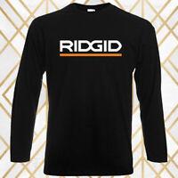RIDGID Famous Tool Company Logo Men's Long Sleeve Black T-Shirt Size S-3XL