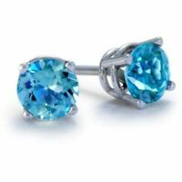 .66 ct. Swiss Blue Topaz Round Basket set Stud Earrings ~ Solid Sterling Silver