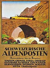 PRINT POSTER TRAVEL ALPINE COACH BUS BRIDGE RIVER SCENIC SWITZERLAND NOFL1302
