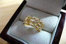 SIMULATED DIAMOND 925 SILVER YELLOW GOLD PLATED BAND RING SZ S US 9.5