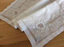 Lawn Cotton Antique Chikan Hand Embroidered Table Topper w/ Lace Inserts c1910