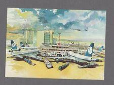 SABENA BRUSSELS AIRPORT AIRLINE ISSUE POSTCARD BELGIUM BOEING 747 707 737 DC-10