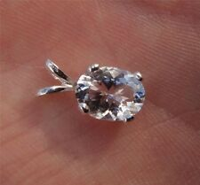 Genuine 1.75 Carat AAA Faceted NY Herkimer Diamond in Sterling Silver Pendant