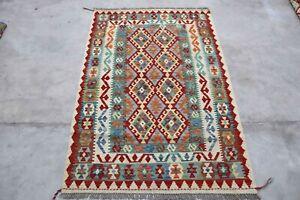 Afghan Kundoz Genuine Handmade Tribal Multi Colour Wool Kilim Rug 105x157cm