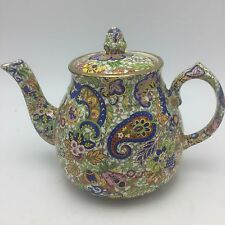 "Wade Heath Paisley Chintz Tea Pot Gold Trim 7x9"" VTG Rare 1930's-40's"
