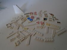 Lego Lot of 70+ City Building Plate White Pieces Decals Yield Arrows Street