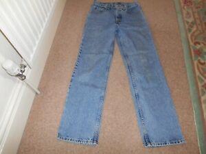 Vintage 80's Levis 627 Jeans W30 31L Straight Leg Blue Denim Orange Tab original
