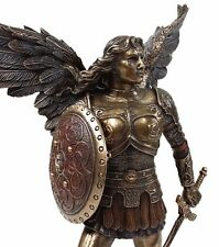 "9.5"" ST MICHAEL ARCHANGEL SWORD & SHIELD DEMON Figurine Statue Bronze Finish"